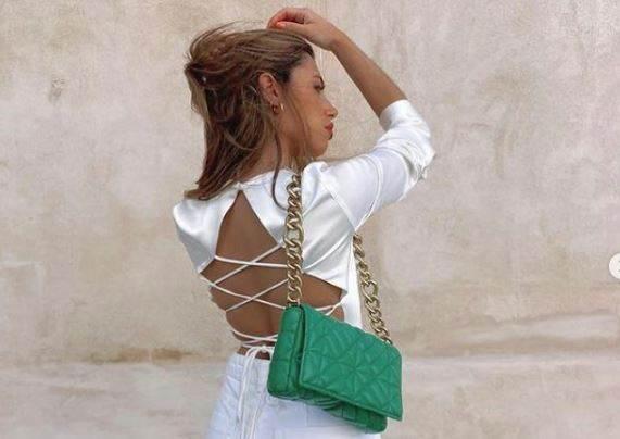 zelena torba sa lancem